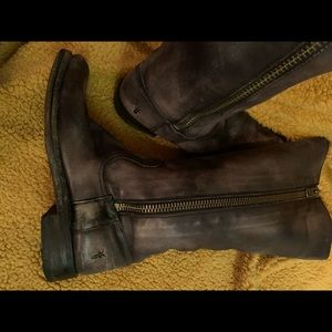 Frye Faded Leather Square-Toed Boots